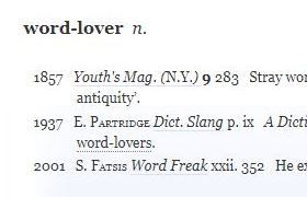 Word-lover in OED